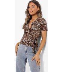 geweven luipaardprint wikkel top, brown