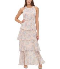 tommy hilfiger floral-print tiered maxi dress