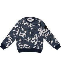 stone island camoflage blue crew neck sweatshirt