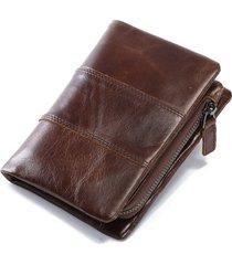 portafoglio in pelle vera a tri-fold con multi-slots con portachiave