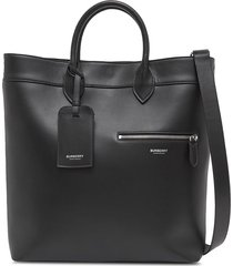 burberry structured logo tote - black