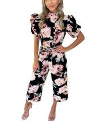 ax paris rose print puff sleeve tie waist jumpsuit