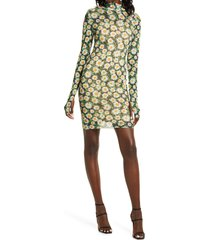 afrm mari print long sleeve turtleneck mesh body-con dress, size x-small in spring daisy at nordstrom