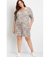 maurices plus size womens 24/7 camo french terry romper gray