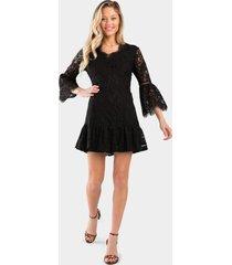 cristel lace v-neck dress - black