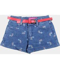 shorts jeans bebê plural kids c/ cinto estrela cadente menina