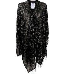 talbot runhof sequin-embellished poncho - black