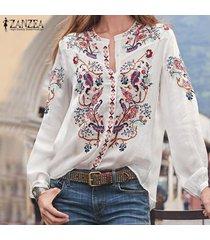 zanzea para mujer floral de manga larga del botón camisas de las señoras flojas ocasionales remata las blusas más del tamaño -blanco