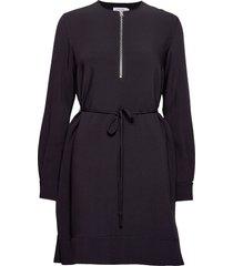 travel crepe ls zip detail dress jurk knielengte zwart calvin klein