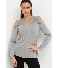 grey lace insert round neck hollow details long sleeves cold shoulder t-shirts