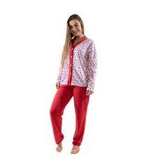 pijama 4 estações com botão amamentação manga longa feminino vermelho