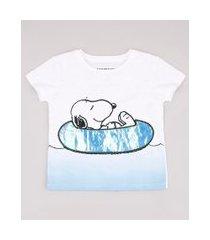 camiseta infantil snoopy manga curta off white