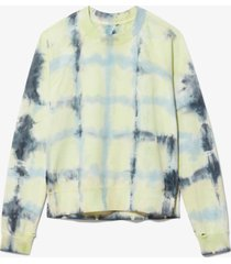 proenza schouler white label tie dye rib sweatshirt lemon/celery/sky dip dye/green l