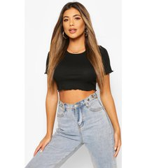 crop top met geplooide zoom, black