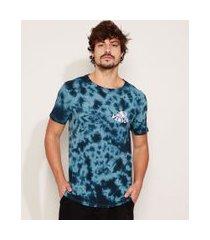 """camiseta masculina estampada tie dye venice"""" manga curta gola careca azul"""""""