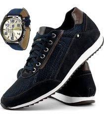 sapatãªnis sapatofran jogging em couro azul mais relã³gio brinde - azul marinho - masculino - couro - dafiti