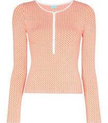 melissa odabash cali zip rasher beach top - mosaic orange
