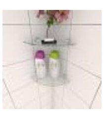 kit com duas prateleira para banheiro de canto 20 cm vidro temperado