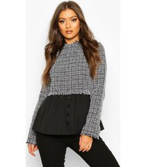 boucle high neck shirt, grey
