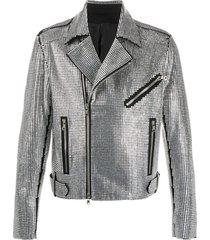 balmain crystal-embellished biker jacket - silver