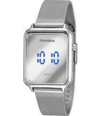 relógio digital mondaine feminino - 32171l0mvne3 prateado