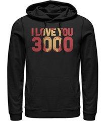 marvel men's avengers endgame i love you 3000 iron man, pullover hoodie