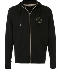 boss metallic logo zip-up hoodie - black