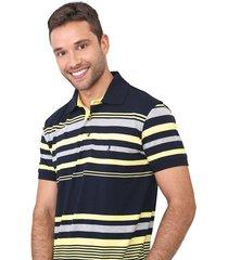 camisa polo aleatory reta listrada azul-marinho/amarelo - kanui