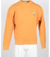 maison kitsuné designer sweatshirts, men's orange sweatshirt