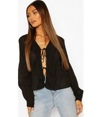 cotton ruffle blouson sleeve blouse, black