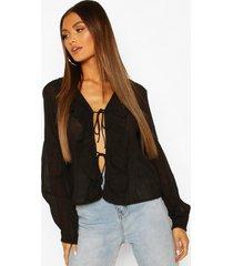 cotton ruffle blouson sleeve blouse, black