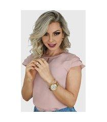 blusa manga curta camadas rose