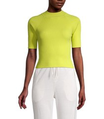 525 america women's ribbed cropped top - neon green - size l