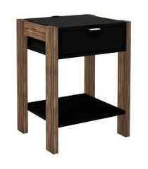 mesa de cabeceira, cômoda, tecno mobili, az101 preta/marrom