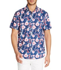 tallia men's floral slim fit short sleeve shirt