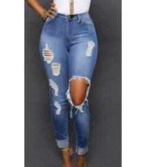 bolsillos rasgados azules diseño de cintura alta jeans