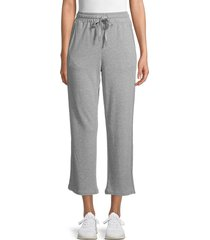 c & c california women's cropped wide-leg pants - medium grey - size l