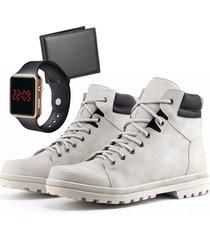 bota coturno adventure com carteira e relógio led casual dubuy r02db branca