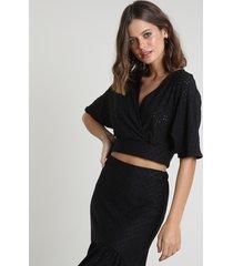 blusa feminina em laise manga curta decote v preto