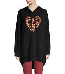 snake-print wool & cashmere hoodie