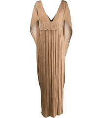 chloé pleated cape gown - brown