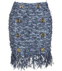 korte tweed rok met franjes