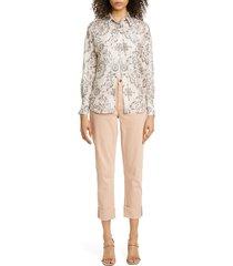 women's brunello cucinelli floral print silk shirt