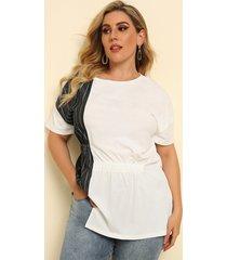 camicetta asimmetrica patchwork o-collo manica corta plus taglia per donna