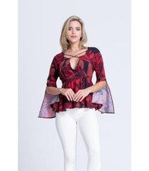 blusa clara arruda viscose decote cruzado 20406 - feminino