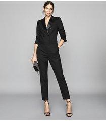 reiss marianna - tuxedo jumpsuit in black, womens, size 12