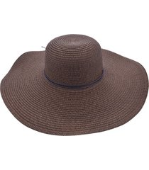 chapéu de praia bali beach com detalhes em couro marrom