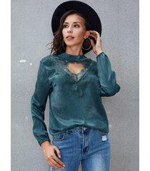 yoins lake blue lace choker neck long sleeves blouse
