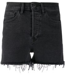 3x1 high rise denim shorts - black