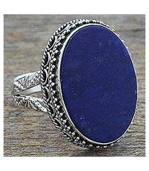 lapis lazuli cocktail ring, 'pool of memories' (india)